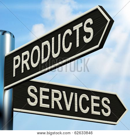 Products Services Signpost Shows Business Merchandise And Service