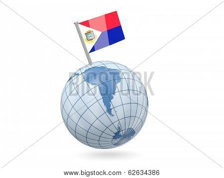 Globe With Flag Of Sint Maarten