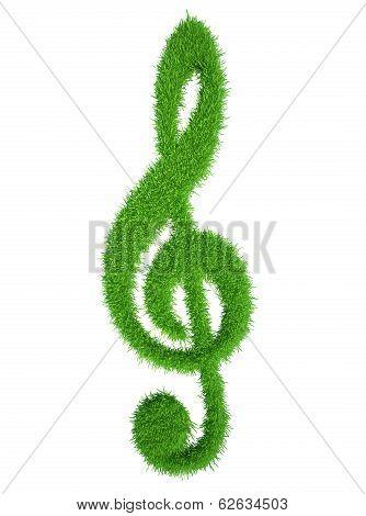 green grass key symbol, fresh music clef