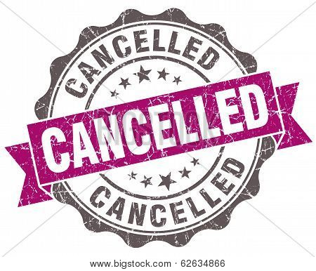Cancelled Violet Grunge Retro Style Isolated Seal