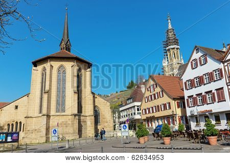 ESSLINGEN, GERMANY - APRIL 02,2014: Medieval buildings located at Market Square (Marktplatz) in Esslingen am Neckar near Stuttgar