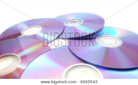 Five  Printable Dvds Isolated On White