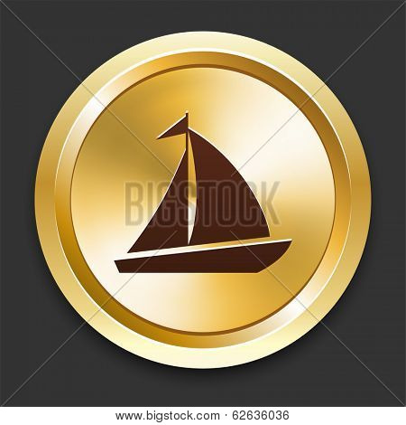 Sailboat Icons on Gold Button Collection