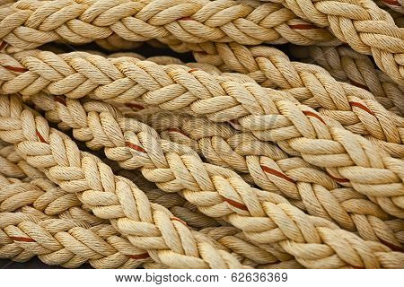 Nautical Knots. Big Marine Vintage Sea Ropes In Heap Background