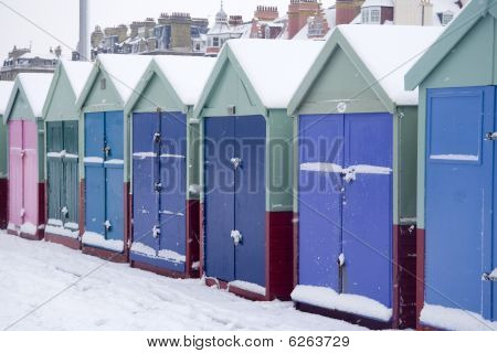 Beach huts in winter