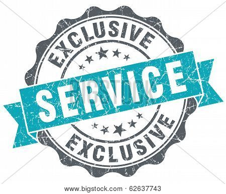 Exclusive Service Blue Grunge Retro Style Isolated Seal