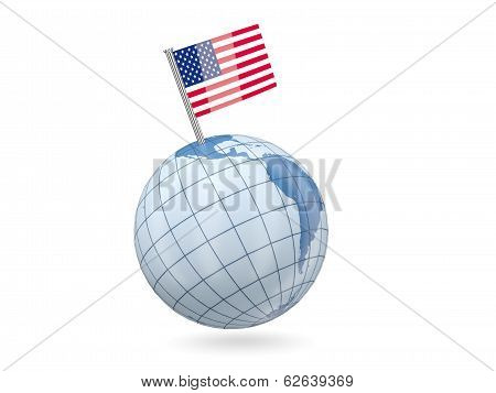 Globe With Flag Of United States Of America