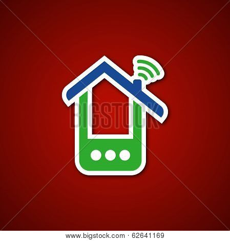 Paper phone house over red