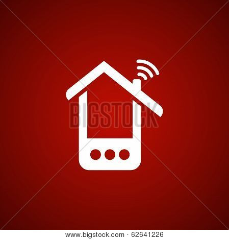Phone house icon over red