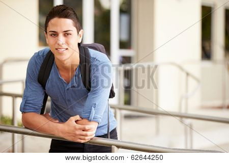 Portrait Of Male High School Student Outdoors