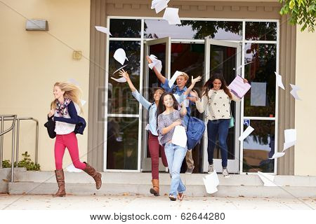 High School Pupils Celebrating End Of Term