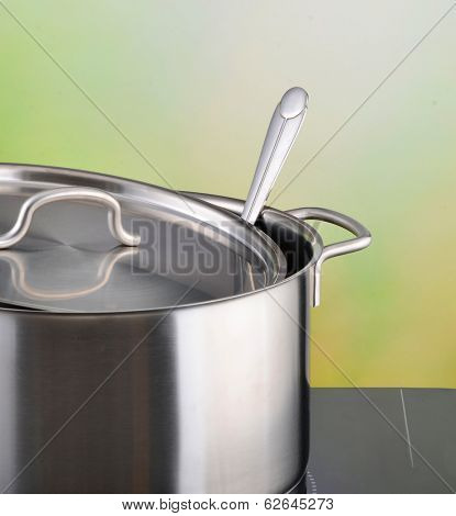 Stainless steel pot on induction hob
