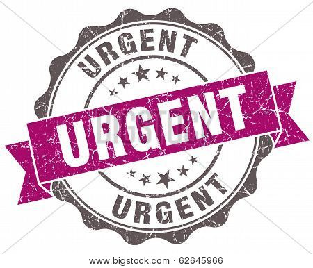 Urgent Violet Grunge Retro Style Isolated Seal