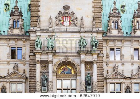 Hamburg, Town Hall, Detail Of The City Hall Or Town Hall Of Hamburg