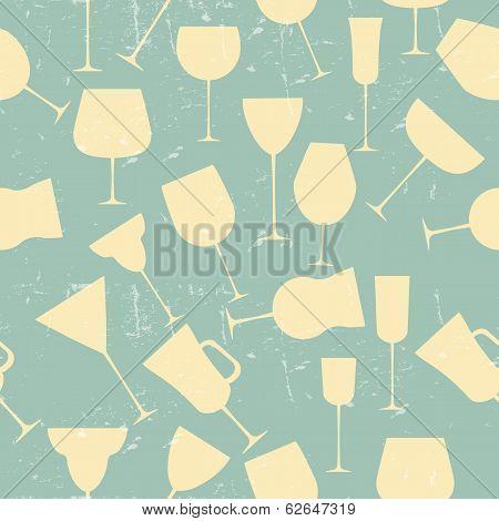 Grunge Retro  Seamless background pattern of retro alcoholic gla