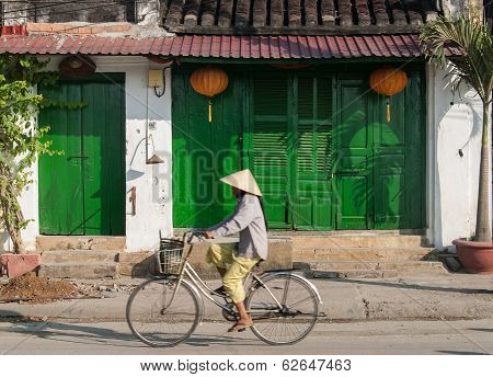 Riding A Bicycle In Hoi An, Vietnam