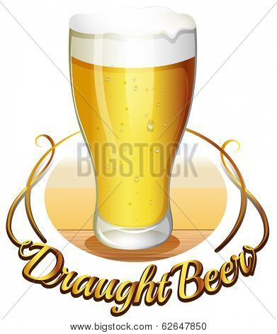 Illustration of the draught beer label on a white background