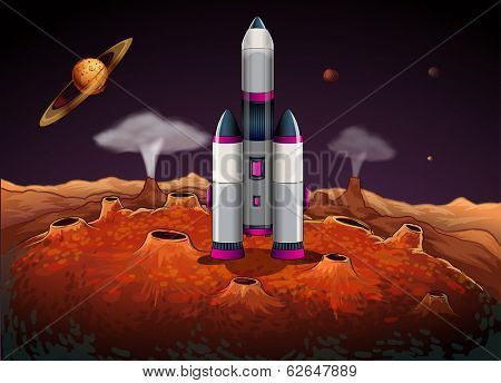 Illustration of a rocket at the outerspace with planets
