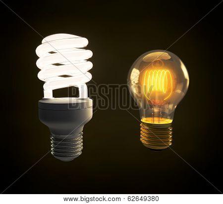 Modern Fluorescent And Vintage Incandescent Light Bulb Side By Side