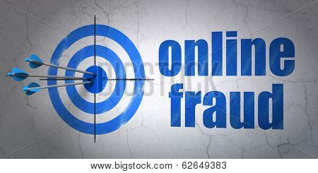 Privacy concept: target and Online Fraud on wall background