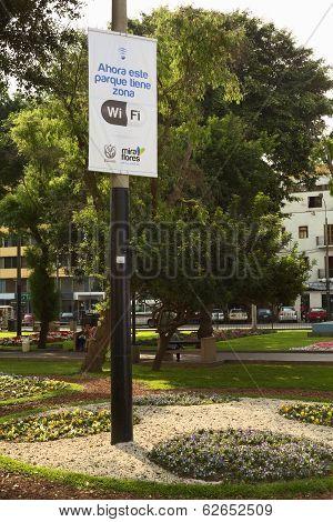 Wifi Zone Sign in Kennedy Park in Lima, Peru