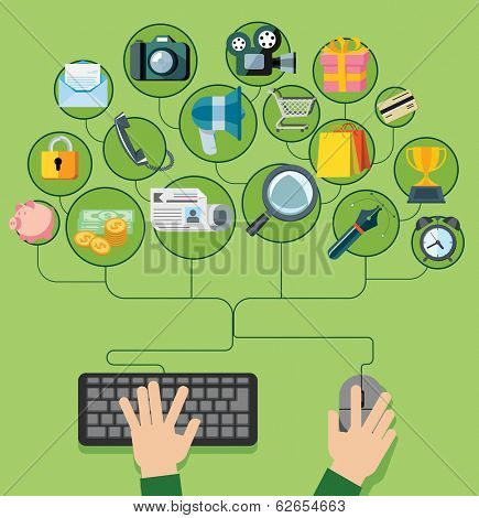 Flat design vector illustration icons set for web and mobile phone services. Shoping, social media, pay per click, internet advertising icons and widgets.