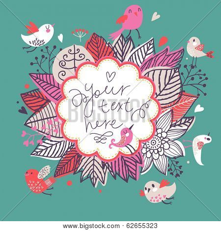 Spring floral design element. Birds and flowers in cute floral background in vector. Romantic card