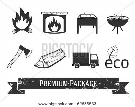 Firewood icons set