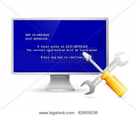 Vector computer display with error message and repair icon  /  isolated on white