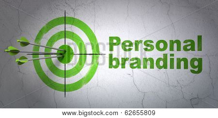 Advertising concept: target and Personal Branding on wall