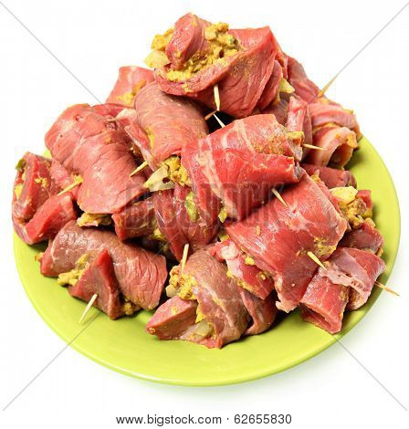Raw Prepared German Beef Roulade Ready to Cook Isolated Over White