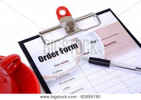 Drinking Order Form Attach On Clipboard.