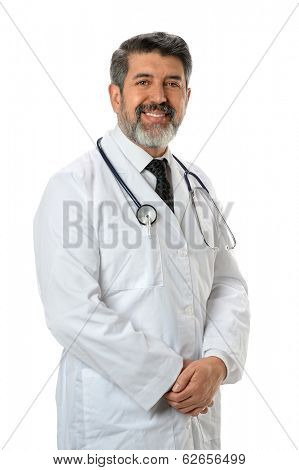 Hispanic Doctor Smiling isolated over white background