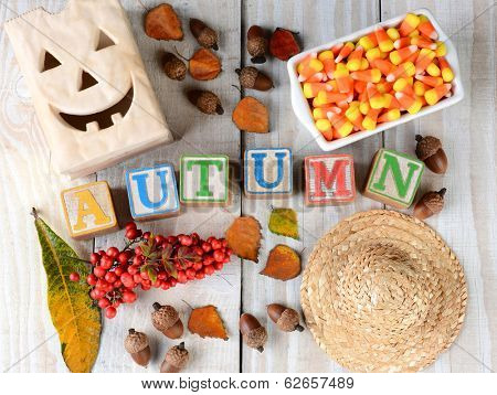 Childrens blocks spelling out Autumn on rustic wooden boards The word is surrounded by leaves, straw hat, acorns, candy corn, berries, and other seasonal items. Horizontal format.