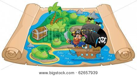 Pirate map theme image 2 - eps10 vector illustration.