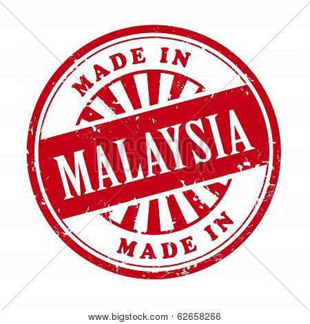 Made In Malaysia Grunge Rubber Stamp