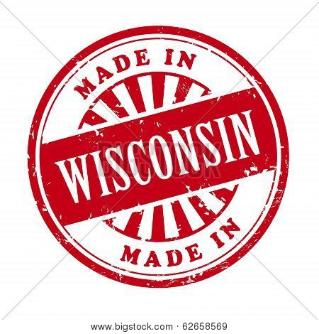 Made In Wisconsin Grunge Rubber Stamp