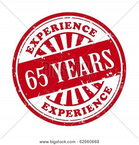 65 Years Experience Grunge Rubber Stamp