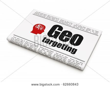 Finance concept: newspaper with Geo Targeting and Head With Finance Symbol