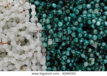 Chinese Traditional Jade Stone Beads Abstract Background.
