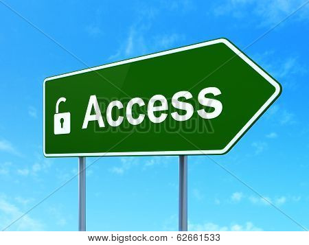 Protection concept: Access and Opened Padlock on road sign background