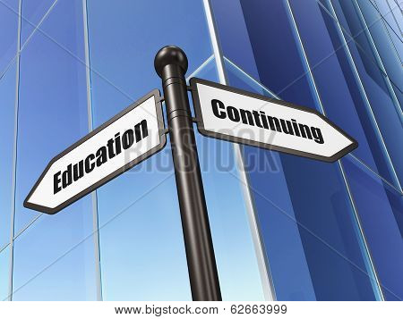 Education concept: sign Continuing Education on Building background
