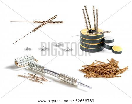 Set of tools and accessories for acupuncture.