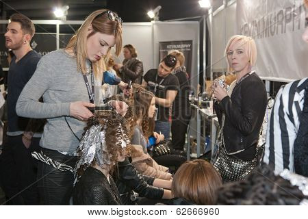 ZAGREB, CROATIA - MARCH 28, 2014: Fashion models in backstage preparing for a Couture show by Marina Design on 'Fashion.hr' fashion show