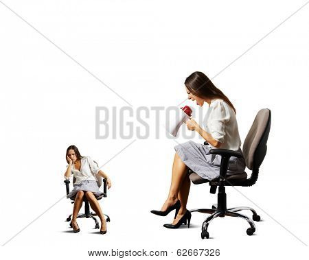 angry woman screaming at lazy woman over white background