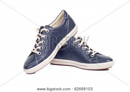 Pair Of Trendy Blue Sneakers Isolated On White Background