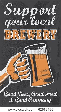 Vintage Brewery Beer Poster - Chalkboard Vector Illustration Sign. Support your local brewery.