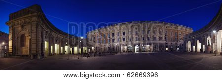 Outer Courtyard At Stockholm's Royal Palace Night Panorama
