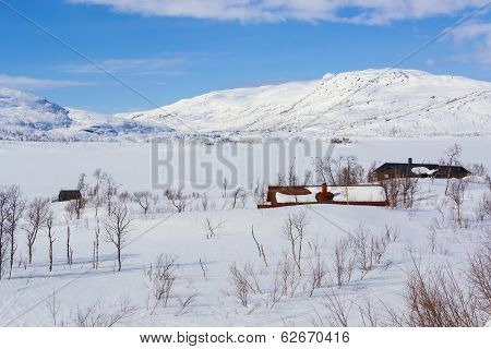 Scenic Winter View In Norwegian Mountains In Winter.