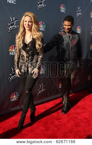 LOS ANGELES - APR 3:  Shakira, Usher at the